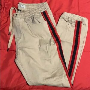 Up Lift Beige Striped Joggers